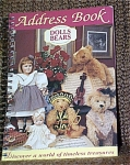 Australian Dolls, Bears, and Collectables Address Book is illustrated with color pictures of dolls and bears. The soft-covered, spiral bound address book was published by Express Publi. Pty Ltd, New South Wales in Australia, and it is 5 inch by 7 inches in size. Its publication date is unknown. This address book came from its distributor in 1995 shortly after it was published. It is new old stock. It has 20 color photos of modern and antique Australian dolls, bears, and toys. There is plenty of room for names, addresses, and several phones numbers with contacts arranged in alphabetical order. This is the perfect gift for doll and teddy bear collectors or for an older girl. In new and mint condition. Expand listing to view both the photograph of the cover and another photo of an inside page.