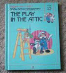 This listing is for the hard cover book, The Play in the Attic, Volume 13 in Raggedy Ann and Andy's Grow-and-Learn Library. It contains 44 pages with large print and color illustrations on each page. This was copyrighted by Macmillan, Inc. in 1988, and published by Lynx Books. The characters and drawings are based on the creations of Johnny Gruelle.  The book is preowned and gently used. The cover is intact with only minor scrapes. The pages of the book are intact and in excellent condition. The book is meant for a young child to read, though it is also good to read to a child.  In this book the dolls are temporarily moved to the attic while the playroom is painted. At first they are not too happy about being there. They end up acted out one of the stories that Raggedy Ann had read to them as a play and making the best of the situation. When the people are away the dolls, stuffed animals, and young animals come to life and talk and interact with one another in drawings like classical ones. Its ISBN number is ISBN 10: 1558021132.