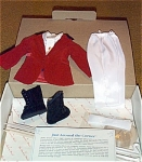 Just Around the Corner costume for Danbury Mint 15 inch vinyl dress-up Shirley Temple dolls, contains long white satin pants, a white-on-white print blouse with tie with gold with red jewel pin, a lined red velvet jacket with dark blue collar, black high-top buttoning black boots, white socks, stand, certificate. This well-made doll outfit was inspired by the costume Shirley wore in this movie, and is in mint condition in original box, copyrighted in 1991 by 20th Century Fox Corp., and approved by Shirley Temple Black. Outfit has excellent quality. The dresses, hats, shoes, blouses, jackets, and socks fit the Ideal 1972-73 16 inch Shirley Temple dolls, but the pants of this and other outfits in this series are too snug on them. There are many other outfits in this collection. Pre-owned by private collector but outfit appears to be unused and in crisp, new condition.  The box shows age and wear from long storage.