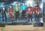 Star Trek Playmates boxed set has 6 mini-polyvinyl Star Trek Command Action Figures wearing their Star Fleet dress uniforms. The figures are 4 inches tall with bases and accessories. This attractively boxed set contains Captain Kirk and Mr. Spock from the Classic Star Trek series; Captain Jean Luc Picard and Commander William Riker from Star Trek the Next Generation; and Commander Benjamin Sisko before his promotion to Captain and Major Kira from Deep Space Nine. These figurines depict the likenesses of the various actors playing the parts. From early to middle 1990s. Figures are mint-in-the-box, and never removed; box may show wear from display at shop.