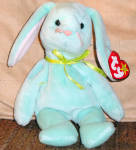 Click here to enlarge image and see more about item TBB0046: Ty Mint Green Hippity Bunny Beanie Baby 1997-1998