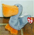 Ty, Inc. Scoop the Pelican, No. 4107, beanie baby plush is mint with tag. Scoop's day of birth is July 1, 1996.  Scoop was introduced on June 15, 1996, and retired on December 31, 1998. Scoop is 7 to 8 inches in size. The verse on Scoop's tag is as follows: 