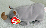 Click here to enlarge image and see more about item TBB0063: Ty Spike the Rhino Beanie Baby 1996-1998