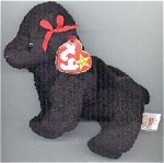 Retired Ty, Inc. Beanie Baby plush, Gigi the flocked Black Poodle puppy with red bow, No. 4191, looks very much like a real black poodle. Gigi's birthday is April 7, 1997, and the beanie is approximately 7 to 8 inches in size. Gigi was introduced May 30, 1998, and retired December 23, 1999. The verse on Gigi's tag is: 