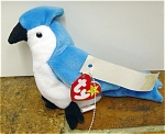 Ty, Inc. Rocket the Blue Jay Beanie Baby plush, is a blue with white accents blue jay bird 7 to 8 inches in size. His day of birth is March 12, 1997. Rocket was introduced on May 30, 1998, and retired on December 23, 1999. The verse on Rocket's tag is: 