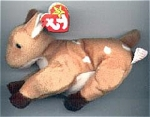 The Ty, Inc. Beanie Baby plush, Whisper the female baby deer or fawn looks like a real baby deer. Whisper is light brown with white spots and black legs. Whisper's birthday is April 5, 1997. This little deer was introduced May 30, 1998, and retired December 23, 1999. The verse on her tag is: 
