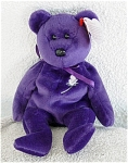 Ty, Inc. Princess the retired plush deep Purple Bear Beanie Baby with a White Rose motif on her chest, No. 4300, which honored Princess Diana after her death. She was manufactured and sold in 1997. This bean bag bear is 7 to 8 inches tall in size. Princess was introduced in October, 1997. She was only available for a short time. Her tag contains a tribute to Princess Diana that starts: 