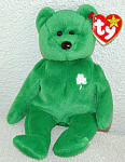 Click here to enlarge image and see more about item TBB0104: Ty Erin Emerald Green Irish Bear Beanie Baby 1998-1999