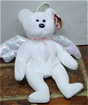 Click here to enlarge image and see more about item TBB0126: Ty Halo the White Angel Bear Beanie Baby