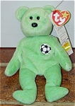Ty, Inc. Kicks the Green Soccer Bear beanie baby plush, , No. 4229, whose day of birth is August 16, 1998. Kicks was introduced January 1, 1998, and retired December 23, 1999. Kicks is a lime-green bear with soccer applique on chest. This bear is perfect for soccer players or soccer fans. His verse is: 