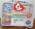 Ty, Inc. Platinum Membership Kit, includes 2nd club beanie, light purplish blue Clubby II beanie baby bear plush, includes certificate, collector's cards, mint in zipping clear plastic holder, new and unused, from 1999. Clubby II's day of birth is March 9, 1999. The Clubby II set was introduced May 1, 1999, and retired December 23, 1999. Bear is approximately 7 to 8 inches in size. 