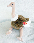 Click here to enlarge image and see more about item TBB082B: Ty Stretch the Ostrich Beanie Buddy Plush c. 1998-99