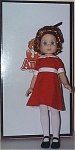 Robert Tonner 1997 vinyl 14 inch vinyl Orphan Annie doll, can wear Betsy and Barbara McCall's Clothes. She has curly red hair and fixed glass-like blue eyes. She is wearing a red dress, white tights, black shoes, as the comic page and movie character. She has a sweet face like Barbara and Betsy. This doll has always been part of my inventory, and it was purchased directly from Tonner Doll Company in 1997, and it has not been owned by others. Like so many 1996-1998 dolls, this one was returned to Tonner Doll Company to be restrung. Her box has two minor dents. She likes to kick off one of her shoes. In 1997 the Tonner shoes were flimsier than they are now. The doll looks great and so do her clothes, but the logo box here is not perfect, and the shoes are not the best. Expand listing to view both photographs and the catalog picture.