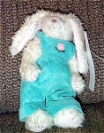 Ty, Inc. Ivy, No. 6076 is a small standing jointed white bunny rabbit Attic Plush who is wearing aqua overalls with a rose on the bodice. Ivy is 10 inches tall including ears and is from 1998. Ivy was introduced on January 1, 1998 and retired on December 31, 1998. The bunny's verse is 'Happy Spring.' This retired bunny rabbit is new, and mint, with tag. Has not been exposed to unpleasant odors.