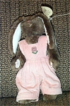 Ty Rose Attic Plush Tan Bunny in Pink Overalls 1998