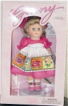 Vogue 1998 Ginny Gardens Sweet Peas, Modern Caucasian version of the 8 inch hard vinyl doll with dark blonde hair and moving blue eyes. Her gardening ensemble includes a rose colored organdy dress, matching giant hair bow and rose pink center snap shoes, white apron with colorful floral print pockets with different flowers. Her accessories include a gardening spade, seed packet, and adjustable metal 'Ginny' stand, and a doll-sized comb and brush. This colorful retired doll is new and mint-in-the-box.