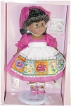 Vogue 1998 Modern Ginny Gardens Sweet Peas, African American doll with black hair and dark moving eyes. Like the Caucasian doll, her gardening ensemble includes a deep rose organdy dress, a matching giant hair bow, white socks, rose pink center-snap shoes, and a white apron with colorful floral print pockets with different flowers. Her accessories consist of a spade, pretend seed packet, adjustable metal 'Ginny' stand and a doll-sized comb and brush. This colorful retired doll is new and mint-in-the-box. Expand listing to view both photographs.