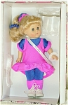 1999 Vogue Century Collection Miss 1980s Ginny, is a pretty 8 inch hard vinyl doll with a blonde ponytail and blue moving eyes. She is dressed in a colorful hot pink jumper over a royal-blue knit blouse with pink cuffs, royal blue tights, colorful ribbons, and white sneakers. A plastic stand that says 'Ginny', and a doll-sized comb and brush are included. Exceptionally attractive costume. Retired doll is new and mint-in-the-box, though one of dolls was displayed behind glass.
