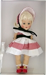 Vogue 2004 Vintage-Reproduction Susanne 7.5 inch hard plastic strung doll has a platinum flip wig with bangs and moving blue eyes, painted lashes. Her ensemble includes a sleeveless red and white checked dress with large white collar, and black velvet at waist, matching red and white pantaloons, red and white checked bonnet with white lining and black velvet tie, white socks, and red center-snap shoes. She has wonderful coloring and looks like the best of the dolls from 1952 and 1953. From a limited edition of 1,000. Mint-in-the-box old stock, includes her certificate. A doll-sized comb and brush is included. Expand listing to view both photographs.