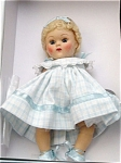 Click here to enlarge image and see more about item VOG2197: Vogue Blue Dimity Crib Crowd Vintage Repro Ginny Doll 2004
