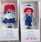Vogue 2007 5.5 inch Mop Top Ginny Girl and Boy Dolls, boxed separately, and sold as a set. These little dolls have red yarn hair and painted brown eyes. Her hair is styled in double ponytails with bangs and red ribbons. Both dolls are wearing costumes resembling those of Raggedy Ann and Raggedy Andy, and they are sure to appeal to lovers of those dolls as well as Ginny collectors. She is wearing a dark blue dress, white pinafore, white pantaloons, red and white striped socks, and black shoes. His outfit includes dark blue overalls, a red and white striped shirt, a dark blue hat with white brim, red and white striped socks, and black shoes. Dolls are limited to 500 each and were introduced after the 2007 Vogue catalog was printed, and these are no longer available at the Vogue Doll Company. They are boxed separately but are being sold as a boy and girl doll set. New, mint, in their boxes with certificates. Expand listing to view all 4 photographs.