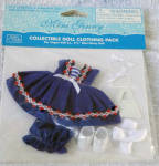 2013 Vogue Sail Away outfit only, No. 13MGCP14, fits 5.25 inch mini Ginny dolls. The outfit contains a dark blue sailor dress trimmed with red, white, and blue braid and white ribbon; dark blue bloomers; 2 white hair bows; white socks; white molded plastic shoes, and a white purse. New and mint in package. The price is for the outfit only and does not include the doll modeling it. Expand listing to view both photographs.
