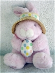 Click here to enlarge image and see more about item WAL0001: Plush Pink Easter Bunny with Hat and Egg