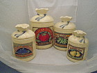 Set of 4 Ceramic Potato Sack Look Canisters H&HD 1988