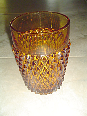Indiana Glass Diamond Point Amber Tumblers