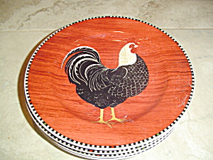 Sakura Warren Kimble Rooster Salad Plate Red