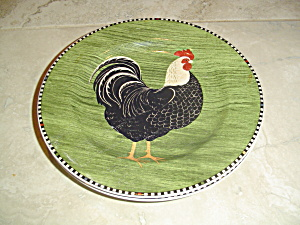 Sakura Warren Kimble Rooster Salad Plate Green