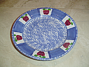 Made In Portugal Salad Plates-red Apples, Blue Sponge On Terracotta