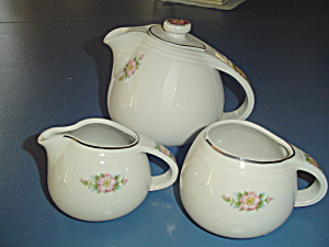 Hall's Kitchenware Rose White 658 Stoneware Tea Set
