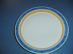Dansk Bistro Dinner Plates Blue, White, Orange, Green