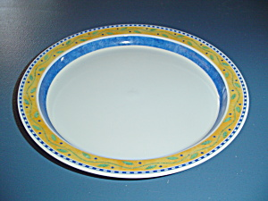 Dansk Bistro Salad Plates Blue, White, Orange, Green