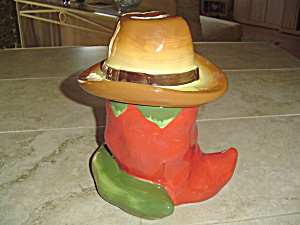Red Chili In Cowboy Hat Cookie Jar