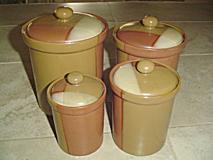 Sango Gold Dust Sienna Set Of 4 Covered Canisters