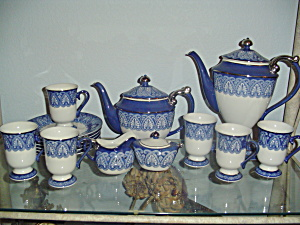 Bombay China Blue And White Full Service Tea/coffee Service Mint
