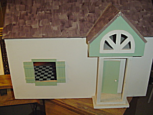 Vintage White And Green 2 Story Wood Doll House