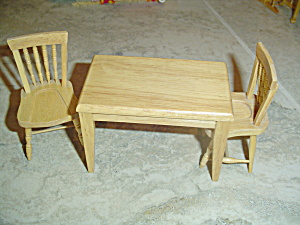 3 Pc. Dining/kitchen Room Set Wood Doll House Furniture