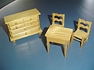 4 Pc. Kitchen/dining Natural Wood Doll House Furniture