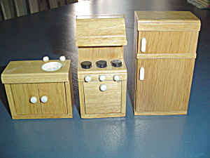 3 Pc. Kitchen Appliances Natural Wood Doll House Furniture