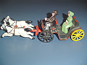 Vintage Antique Cast Iron 2 Horse Drawn Buggy W/man & Woman