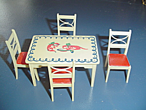 Vintage Renwal White Kitchentable/chairs Doll Furniture - Stenciled