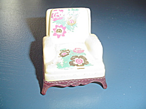 Vintage Renwal White Easy Chair Doll Furniture - Stenciled