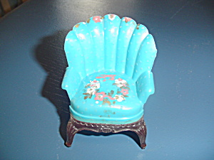 Vintage Renwal Turquiose Fluted Easy Chair Doll Furniture - Stencils