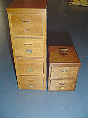 2 Wood File Cabinets Doll House Furniture