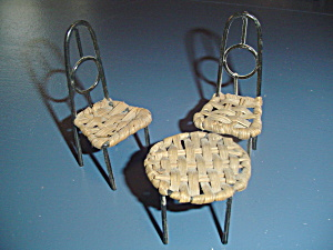 Wicker And Metal Patio Set Doll House Furniture