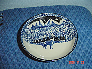 Tienshan Folk Craft Wolf Cereal Bowls - Blue