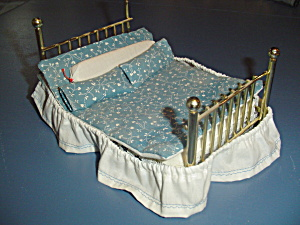 Brass Bed Dust Ruffle, Comforter, Pillows Doll House Furniture